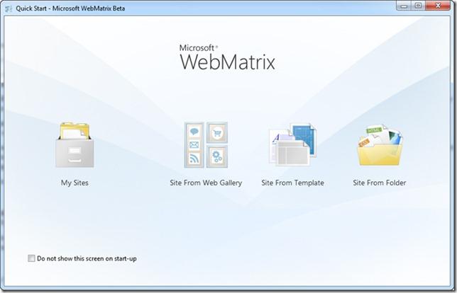 Tela inicial do Microsoft WebMatrix Beta
