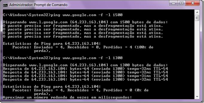 Ping MTU no Windows 7