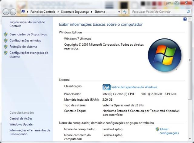 Índice de experiência do Windows