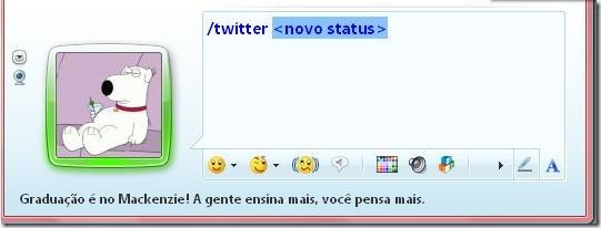 /twitter <novo status>