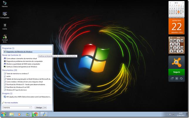 Clique em Diagnóstico de Memória do Windows