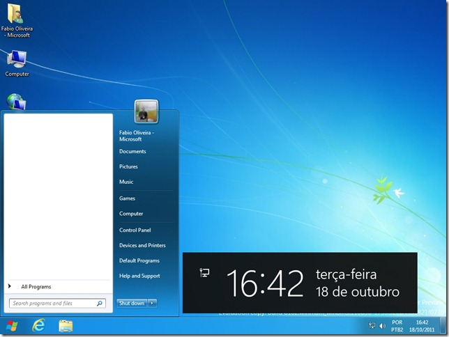 Menu Iniciar do Windows 7 no Windows 8