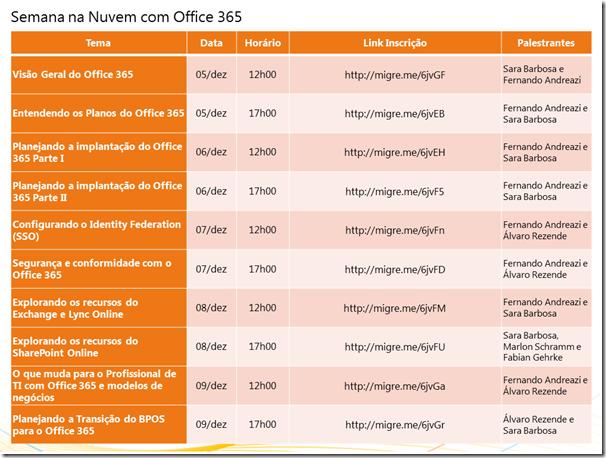 Semana de Webcast com Office 365