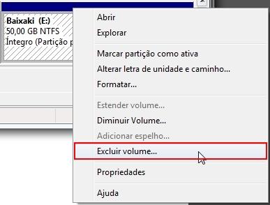 Excluir volume...